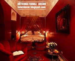 location interior romantic dark red paint in bedroom decoration