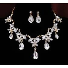 rhinestone necklace sets images 18k yellow gold filled austrian crystal rhinestone necklace set jpg