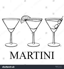 martini silhouette vector vector sketch set martini glass lemon stock vector 507070996