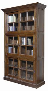 Bookcases With Sliding Glass Doors Furniture Home Brown Tall Wooden Bookcase With Sliding Glass