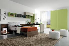 Green Bookshelves - teens room green colors theme ideas with yellow bed bunks also