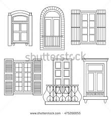 set windows isolated hand drawn icons stock vector 475266055