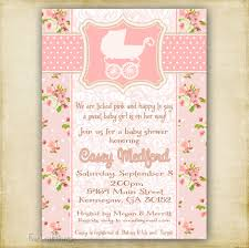pink shabby chic vintage baby carriage baby shower invitation