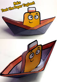 make a toot the tiny tugboat paper boat fun paper craft for