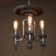 4 Light Fixtures Industrial Mechanical Gear Shaped 4 Light Chandelier