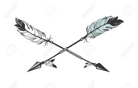 vector illustration two arrows decorated with feathers royalty
