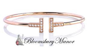 bracelet diamond tiffany images Tiffany co t diamond rose gold wire bracelet small 5 75in jpg