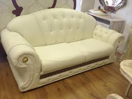 Versace Sofa Versace Cream Leather Sofa 3 2 1 Stock Clearance In Bilston