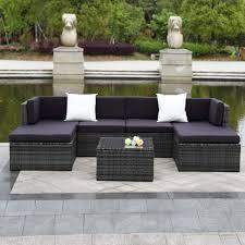 Patio Furniture Rattan Ikayaa 7pcs Cushioned Outdoor Patio Garden Furniture Sofa Set