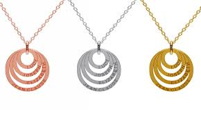 Necklace With Name Engraved Custom Name Engraved Multi Ring Necklace Groupon