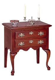 cherry two drawer nightstand brass