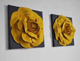 mustard home decor rose art home decor set dark grey yellow wall decor mustard