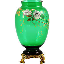 Baccarat Vase Vintage Antique French Baccarat Chinoiserie Emerald Green Crystal Glass