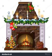 christmas sketch fireplace decorations sample poster stock vector