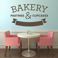 decorating attractive black mural love wall art stickers wall decorating nice bakery pastries cupcakes wall art stickers with dining table and 2 pink chairs