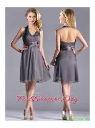 chiffon halter top knee length junior prom dress in grey