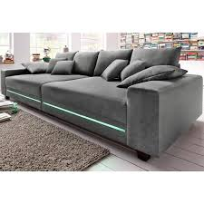 3 suisses canapé canapé profond 4 places avec leds en microfibre primabelle gris