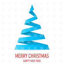 white christmas tree in origami style on red background vector