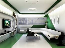 split level plush futuristic retro bedroom in white with red