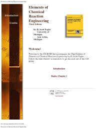 cd rom elements of chemical reaction engineering 3ed chemical