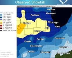 weather map chicago december 4 2016 significant measurable snowfall of the season