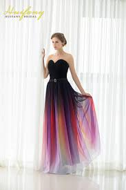 gradient prom dresses sweetheart chiffon ruched long omre evening