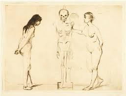munch edvard the two girls and the skeleton life and death