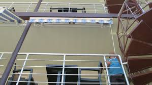 Manual Retractable Awning Folding Retractable Awning Opening Process Stock Footage Video