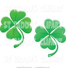 vector clip art of two st patricks day four leaf clover shamrocks