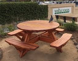 custom round picnic table attached benches made in u s a