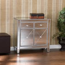 furniture mirrored nightstand cheap with two drawers for bedroom