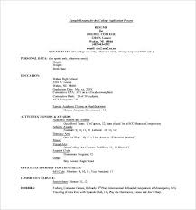 academic resume for college application high resume for scholarships