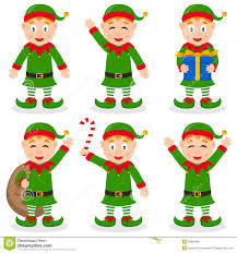 christmas elf cartoon characters set stock vector image 46885669