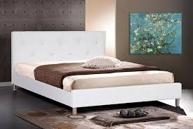 White Leather Modern Queen Size Bed Frame With Crystal Button - White leather contemporary bedroom furniture