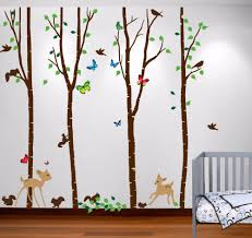 compare prices on birch tree wall decal forest online shopping 2016 new names birch tree forest set large wall decal deer birds bambi squirrels butterflies h108in
