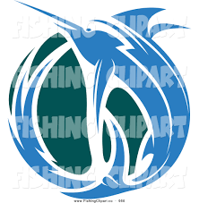 clip art of a leaping blue marlin fish and teal wave by vector