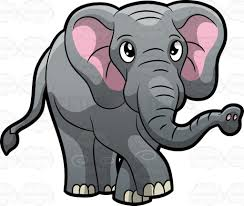 an elephant walking around at the zoo cartoon clipart vector toons