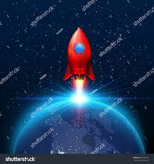 space red rocket launch creative art stock vector 666159160