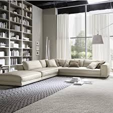 outstanding living room design with corner cream bed sofa and
