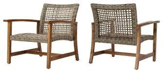 Savannah Club Chair Savannah Outdoor Acacia Wood And Wicker Club Chairs Set Of 2