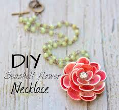 diy seashell flower necklace youtube