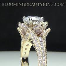 engagement rings on sale yellow gold large engraved blooming beauty flower diamond