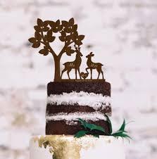 buck and doe wedding cake topper wedding rustic cake topper deer silhouette tree cake topper