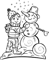 boy making snowman coloring free printable coloring pages