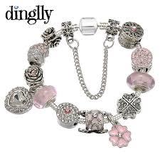 pandora silver link bracelet images Dinglly romantic heart pendant flower beads pandora bracelet for jpg
