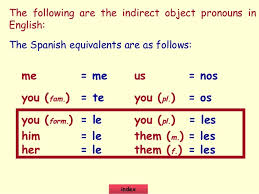 indirect object pronouns spanish google search spanish lessons