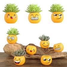 keybox funny 6pcs emoji expression mini bonsai diy grass hair mini