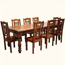 64 square dining table 8 chairs set rustic wood furniture ebay