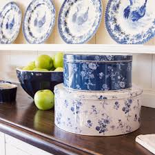 english country kitchen traditional with white serving platters