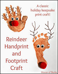 reindeer handprint and footprint craft reindeer print and crafts
